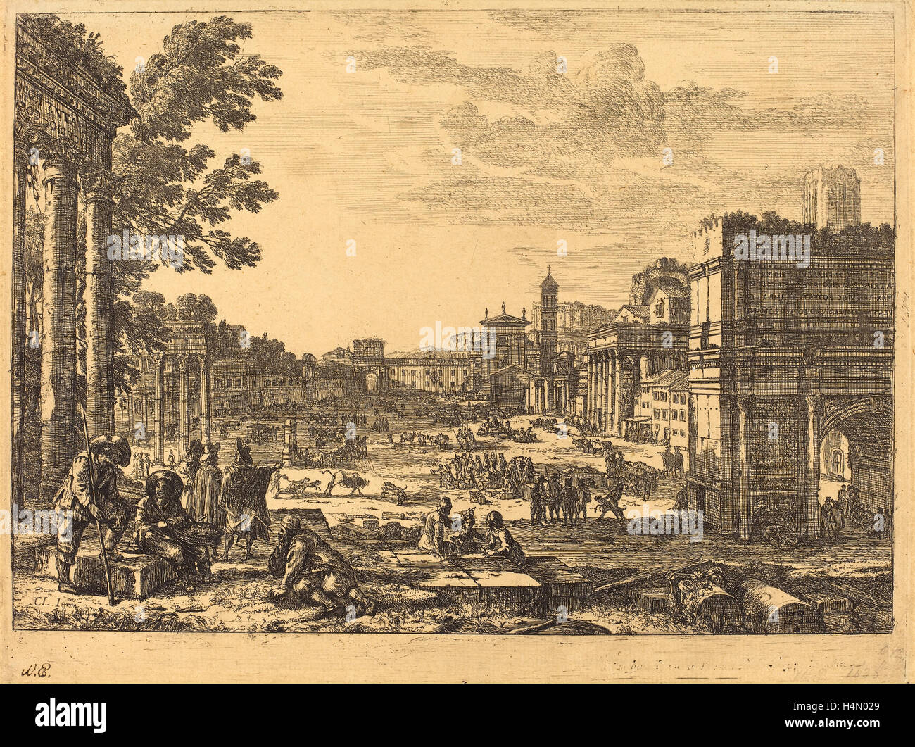 Claude Lorrain (French, 1604-1605 - 1682), The Roman Forum (Le Campo Vaccino), 1636, etching Stock Photo