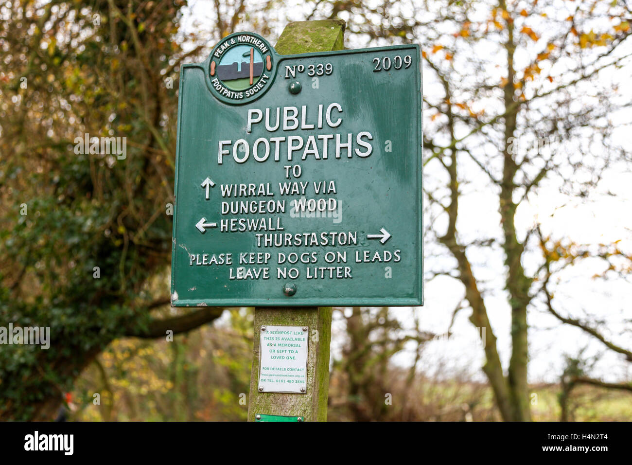 Peak and Northern Footpaths Society sign post 339 saying Wirral Way Heswall and Thurstaston Wirral Country Park - Stock Image