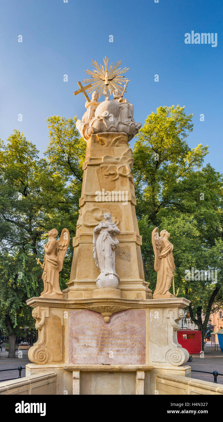Holy Trinity statue at Trg Republike in Subotica, Vojvodina, Serbia - Stock Image