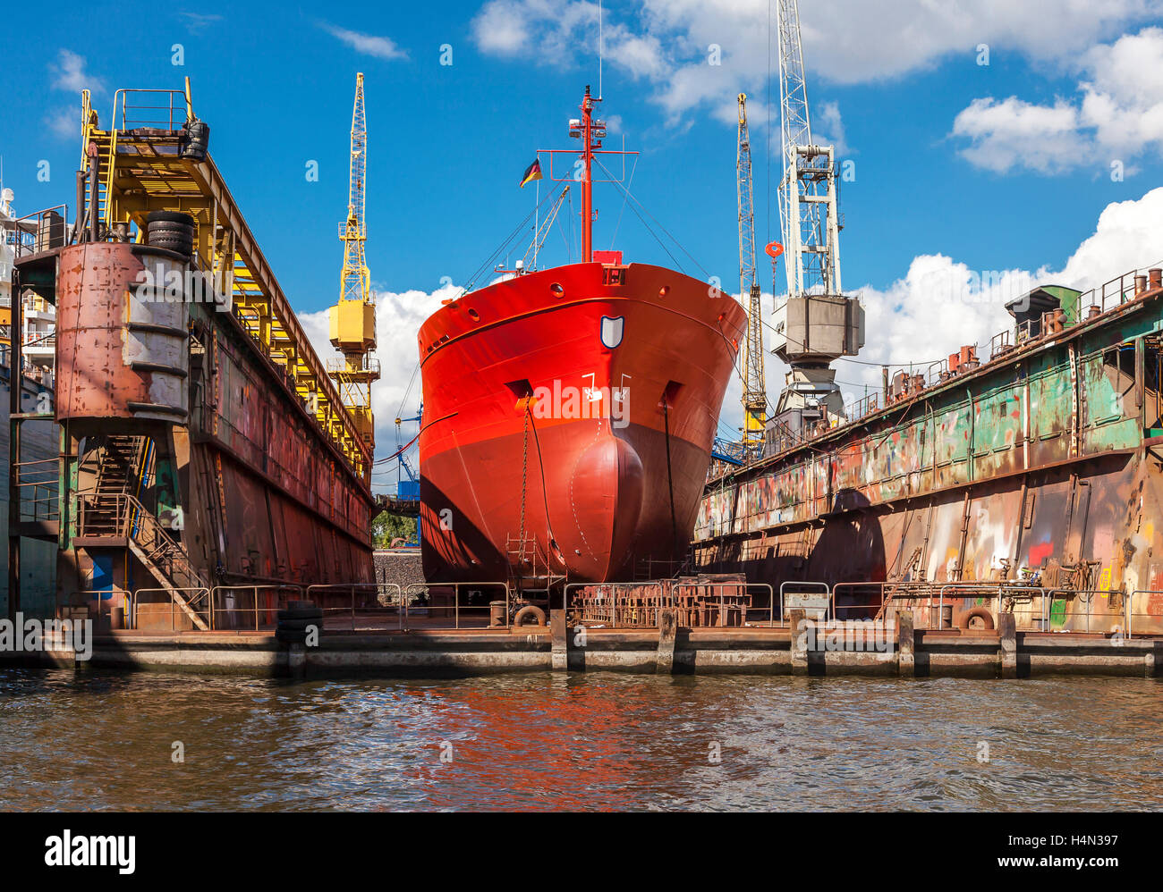 Ships in a dry dock; port of Hamburg - Stock Image