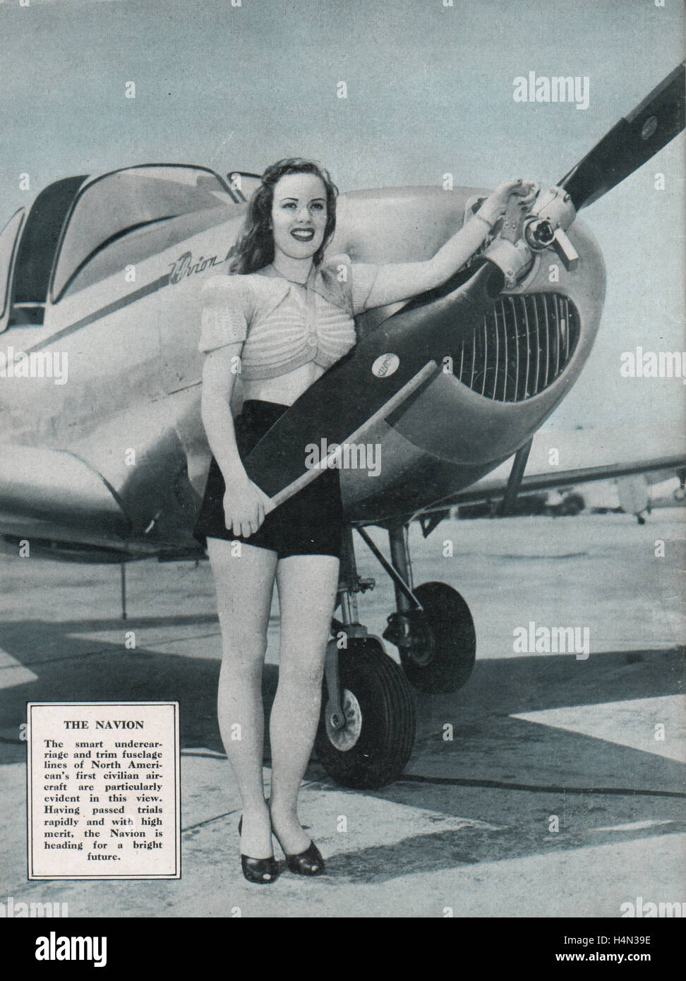 Vintage magazine back cover dated February 1947 showing The Ryan Navion four seat airplane of the 1940s advertised - Stock Image