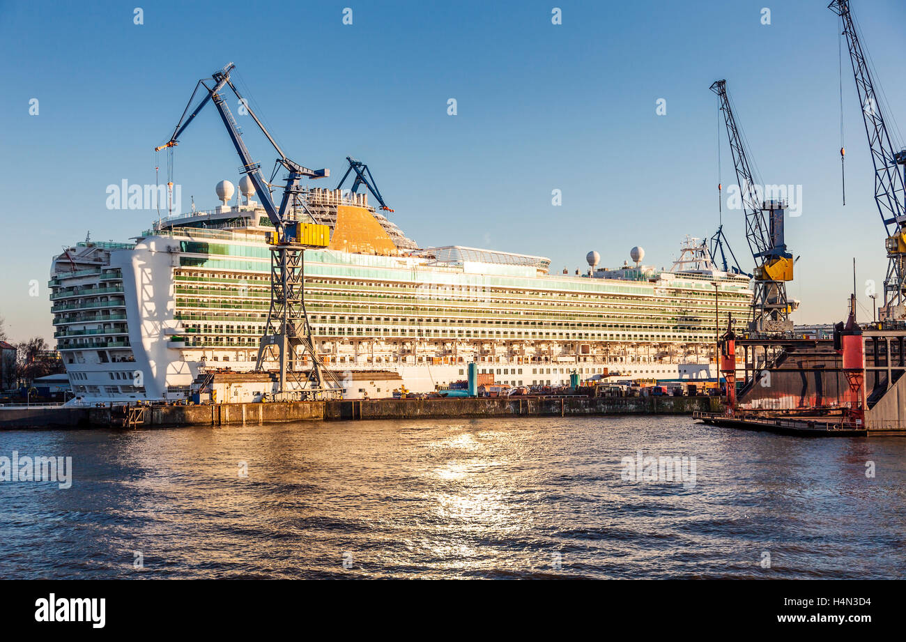 Cruise Ship in a Dry Dock; Port of Hamburg - Stock Image