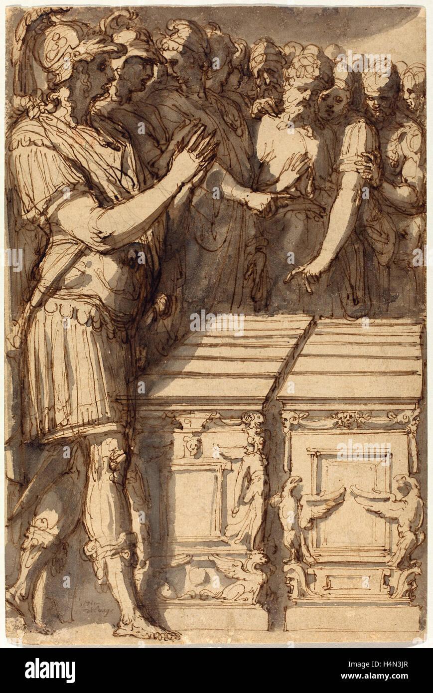 Perino del Vaga (Italian, 1501 - 1547), Alexander Consecrating the Altars  for the Twelve Olympian Gods, 1545-1547, pen