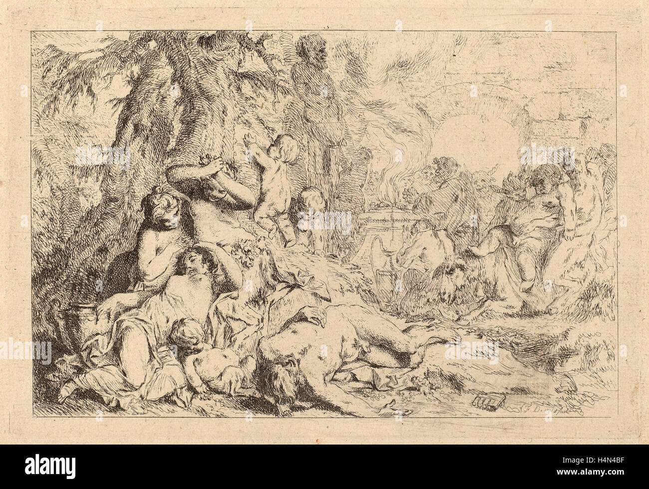 Louis-Felix de La Rue, La Marche de Silène, 'Jeux de Satyres', French, 1731 - 1765, etching on laid - Stock Image