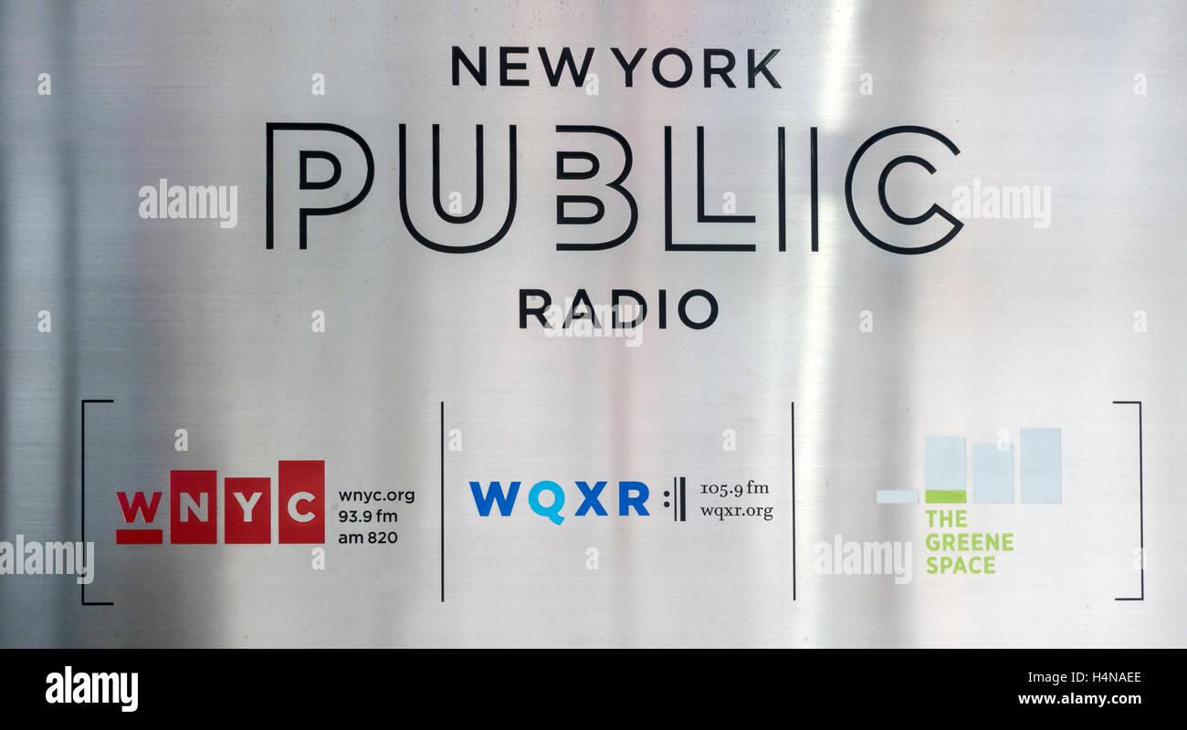 New York Public Radio sign - Stock Image