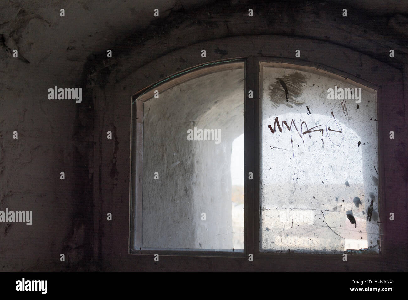 Window pane at Vyborg Castle tower - Stock Image