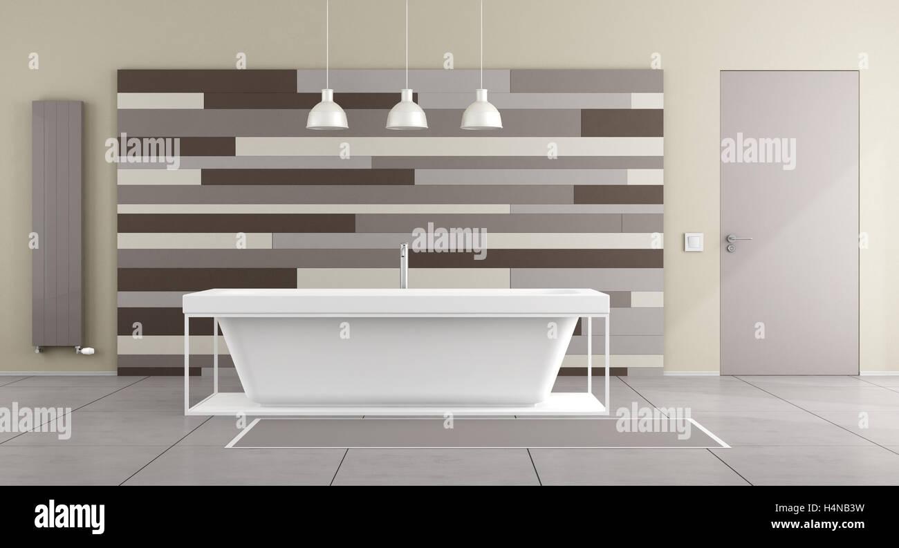 Minimalist bathroom with bathtub and decorative panel on wall - 3d ...