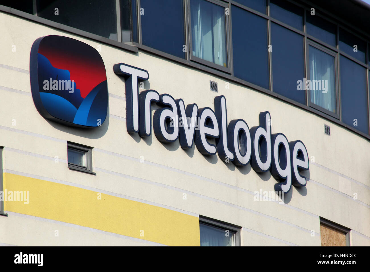 Travelodge Hotel sign, Army & Navy roundabout, Chelmsford, Essex - Stock Image