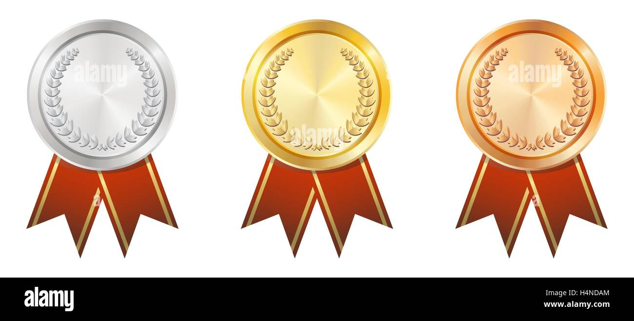 a gold silver bronze badge stock vector art amp illustration