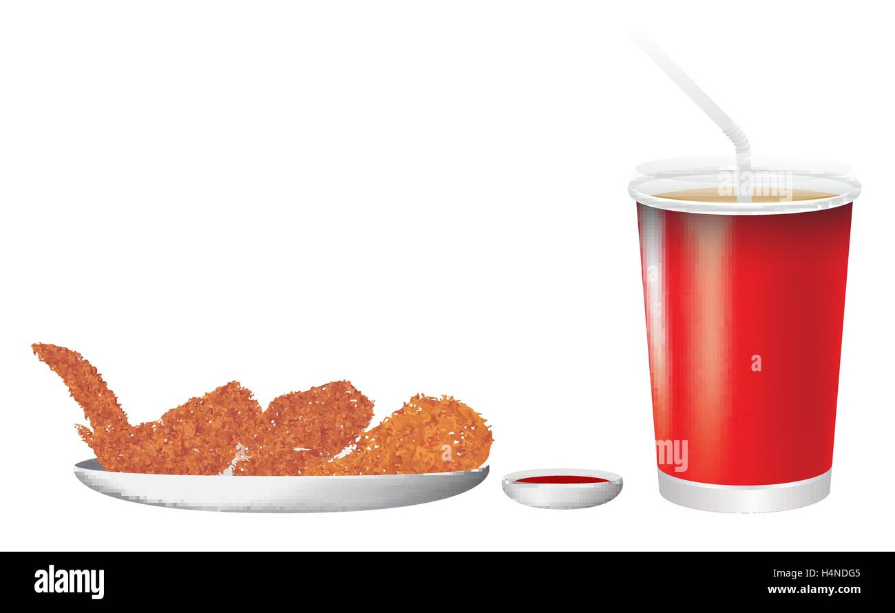 Fried Chicken and Drink - Stock Vector