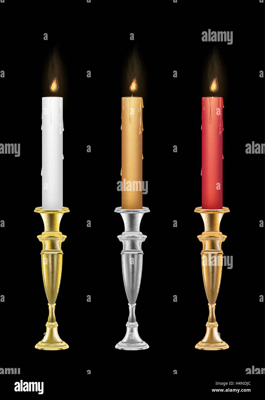 Candle holders with burning candle - Stock Image