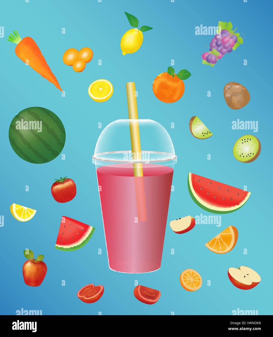 juice soft drink cup with a fruits - Stock Vector