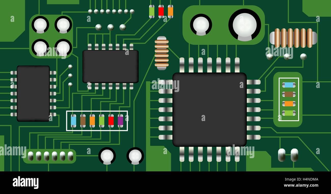 electronic circuit board vector Stock Vector Art & Illustration ...