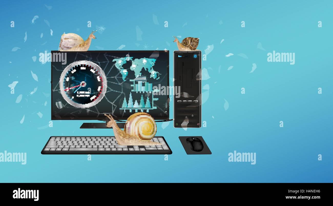 slow desktop computer with snail Stock Vector