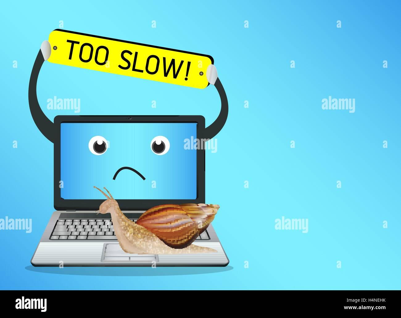 snail on a slow laptop Stock Vector