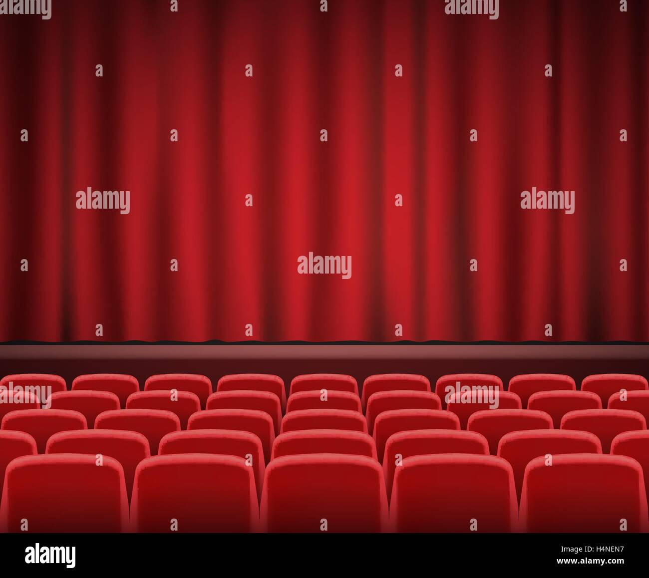 Rows Of Red Cinema Or Theater Seats In Front Of Show Stage Stock Vector Image Art Alamy