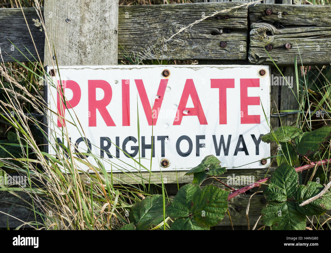 Private no right of way sign in countryside. England. UK - Stock Image