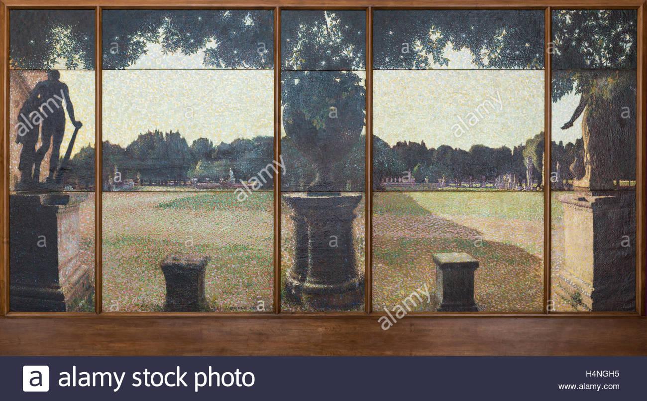 Giacomo Balla (1871-1958), Villa Borghese - Parco dei Daini (1910). Villa Borghese - Fallow Deer Park. - Stock Image