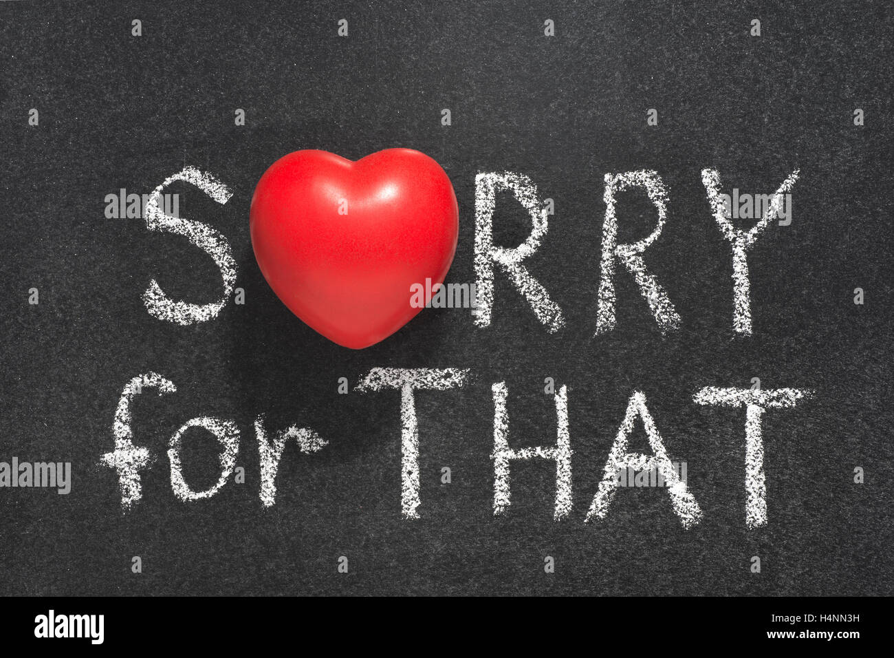 Sorry For That Phrase Handwritten On Blackboard With Heart Symbol