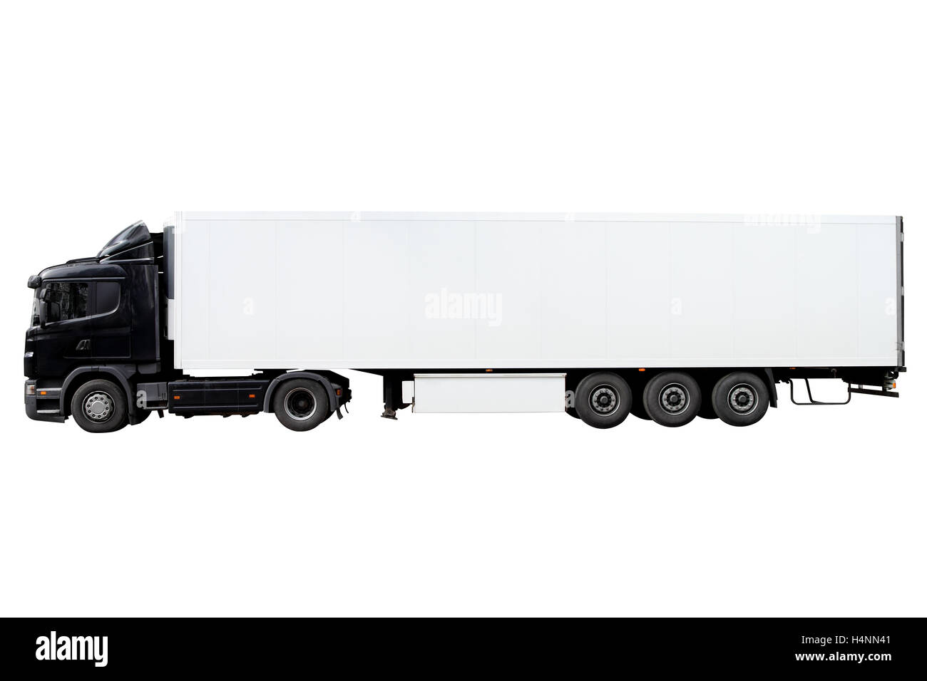 Modern truck with trailer isolated on white background. - Stock Image
