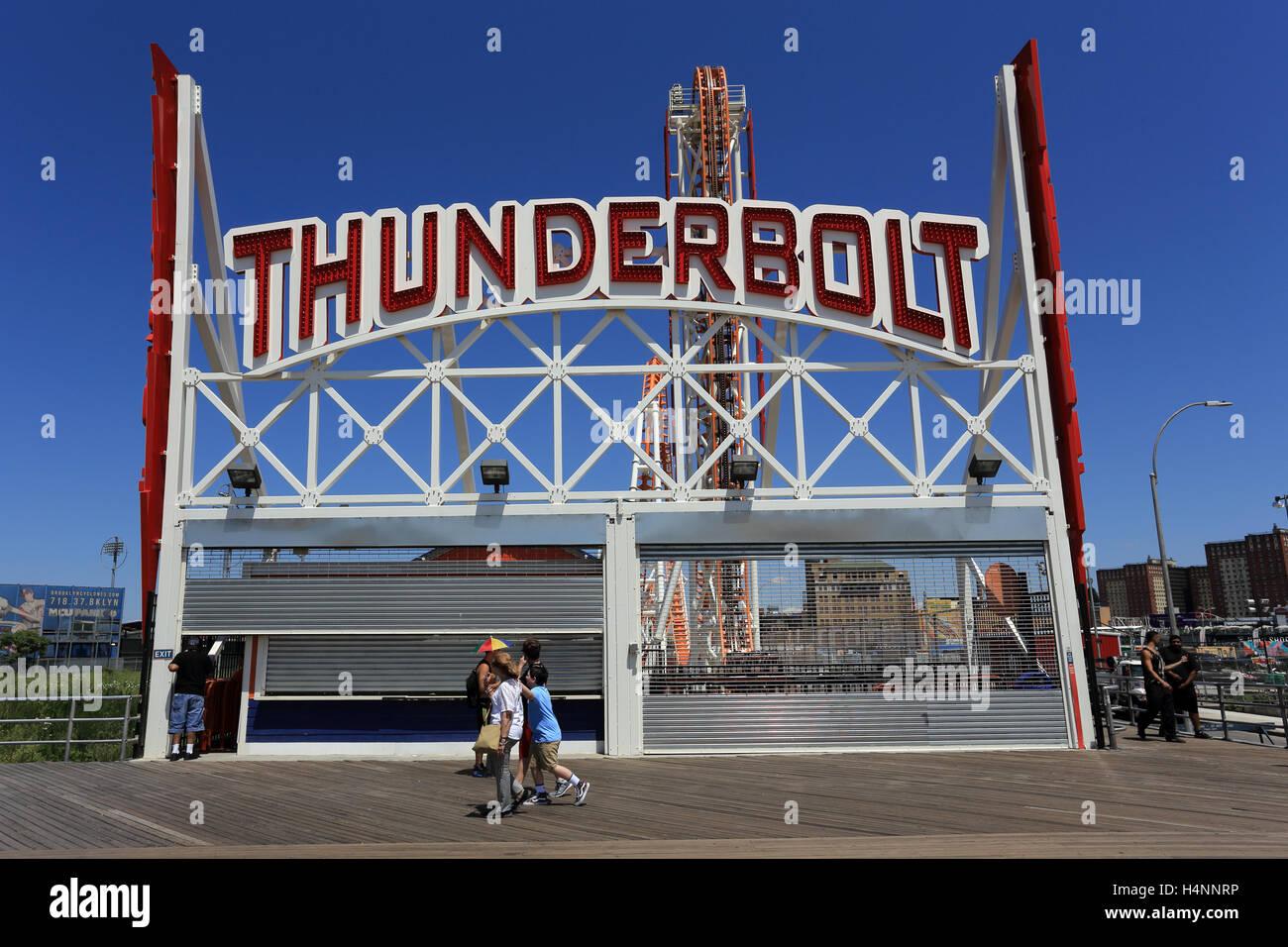 The Thunderbolt roller coaster Coney Island Amusement Park Brooklyn New York City - Stock Image