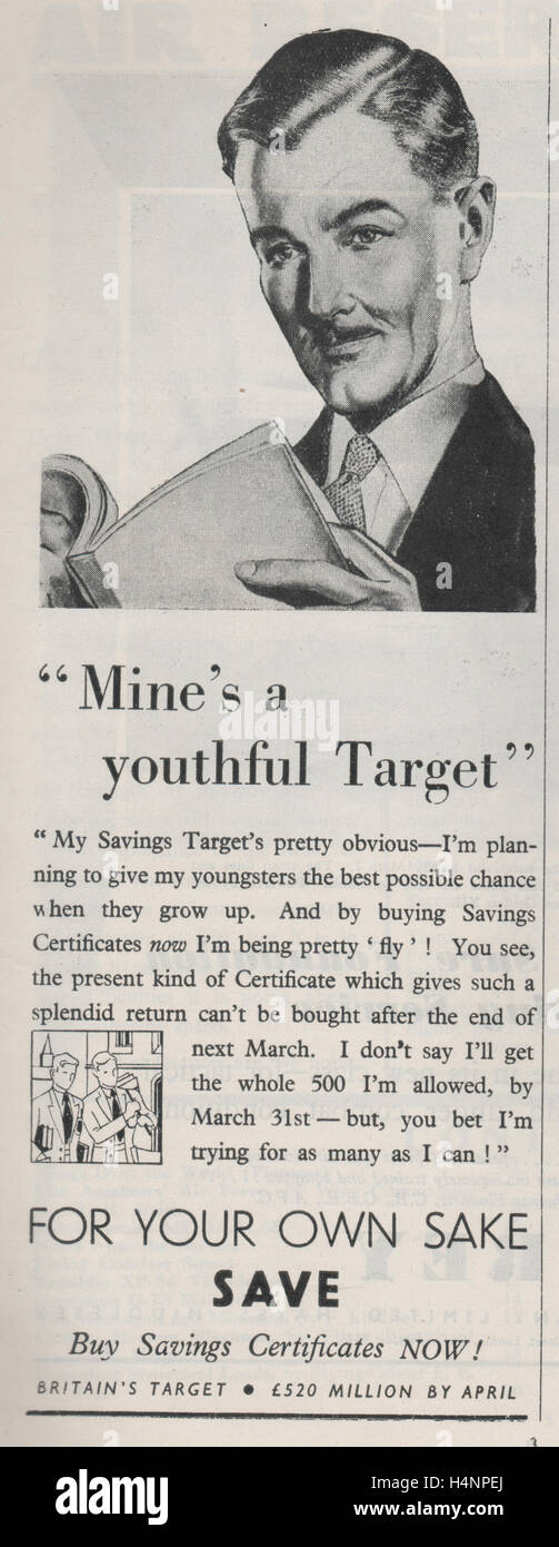 Vintage magazine advertisement encouraging people to save with savings certificates with the strap line For your - Stock Image