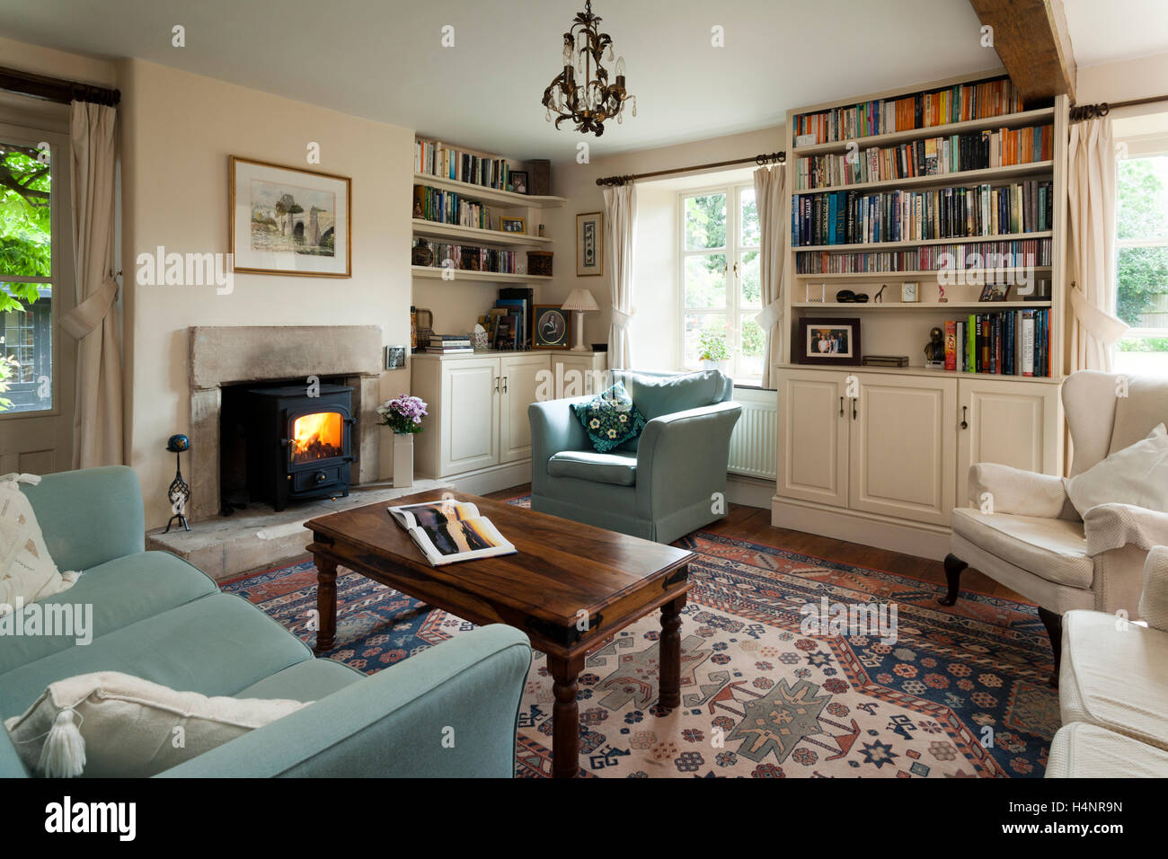 A traditionally furnished living room Stock Photo