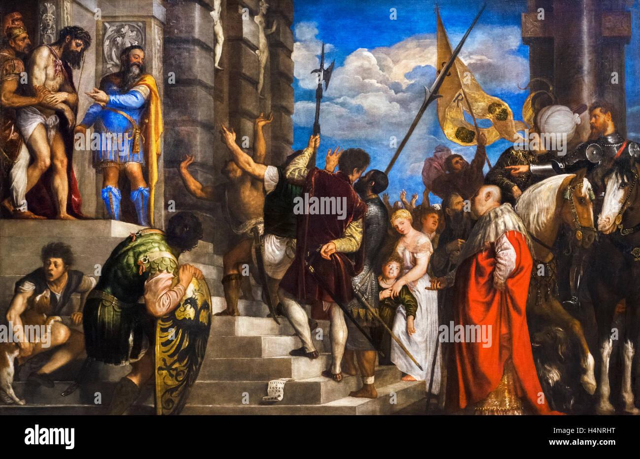 Ecce Homo by Titian (Tiziano Vecelli, c.1488-1576), 1543, oil on canvas. - Stock Image