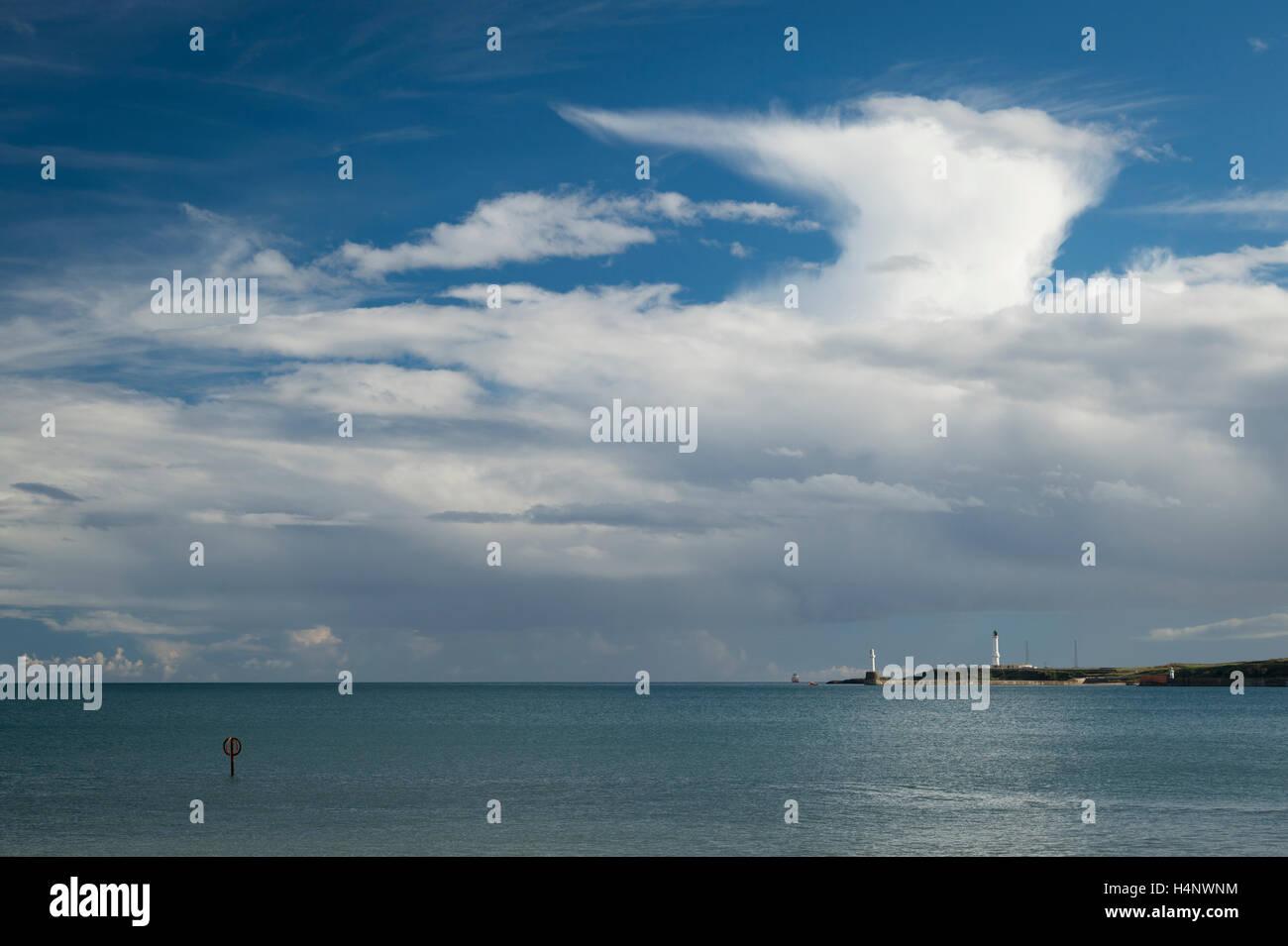Weather over Torry Battery, Aberdeen, Aberdeenshire, Scotland. - Stock Image