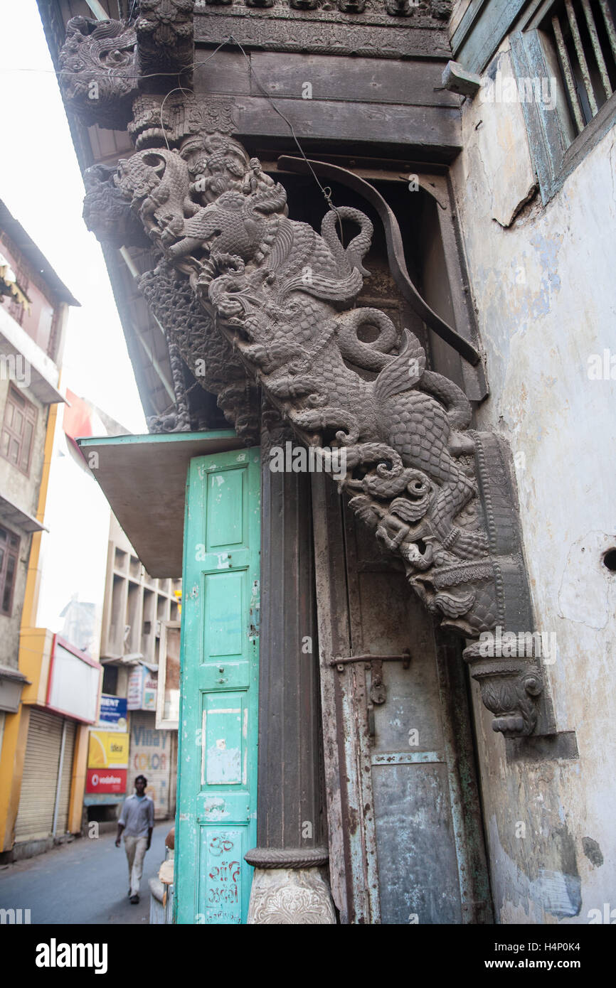 Architecture within old walled area of Ahmedabad city,Gujurat state,India South Asia. Stock Photo