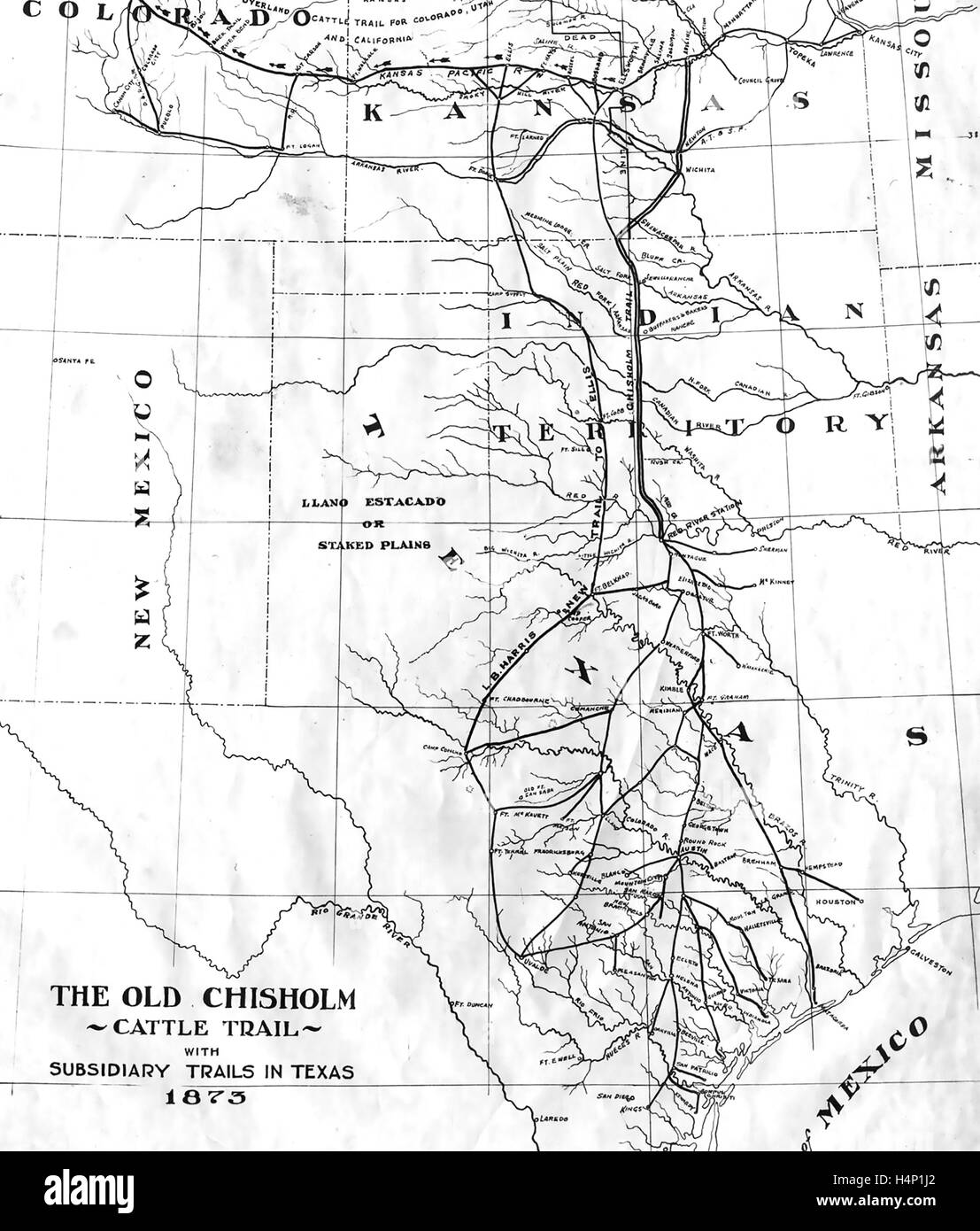 CHISHOLM TRAIL MAP Showing Cattle Driving Routes From Ranches - Chisholm trail map