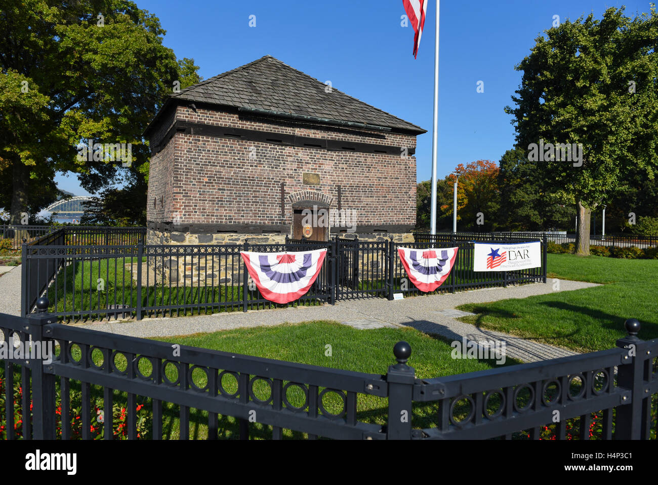 USA Pittsburgh PA Pennsylvania Fort Pitt Blockhouse in Point State Park along the Three Rivers Heritage Trail at - Stock Image