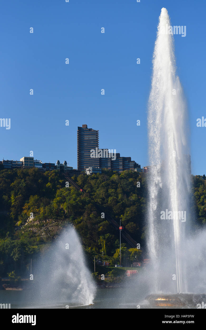 USA Pittsburgh PA Pennsylvania Point State Park Fountain where the Three Rivers meet - Stock Image