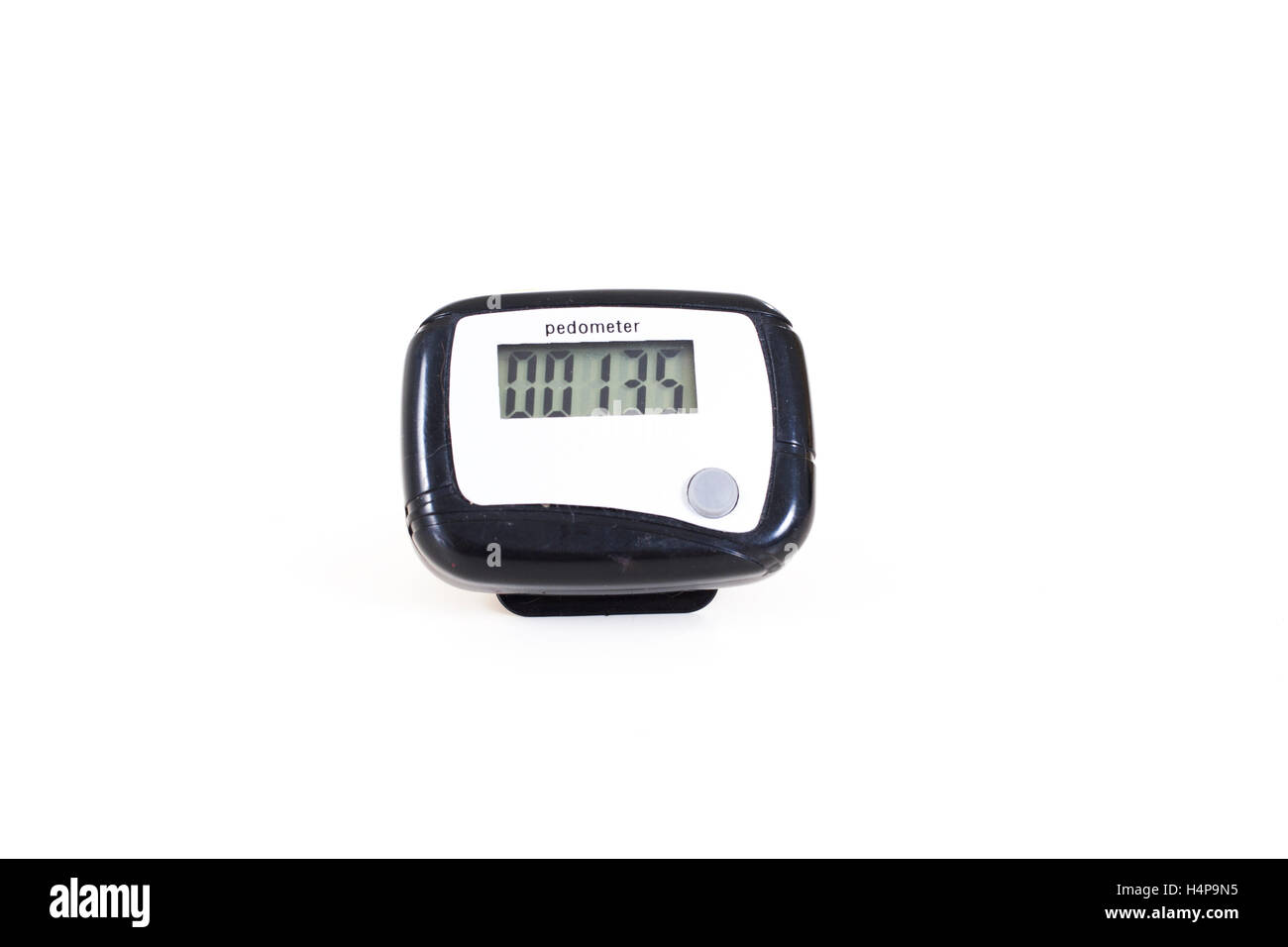 Trained pet photos and white background objects in studio. Pedometer isolated white. Passomater walking number counter - Stock Image