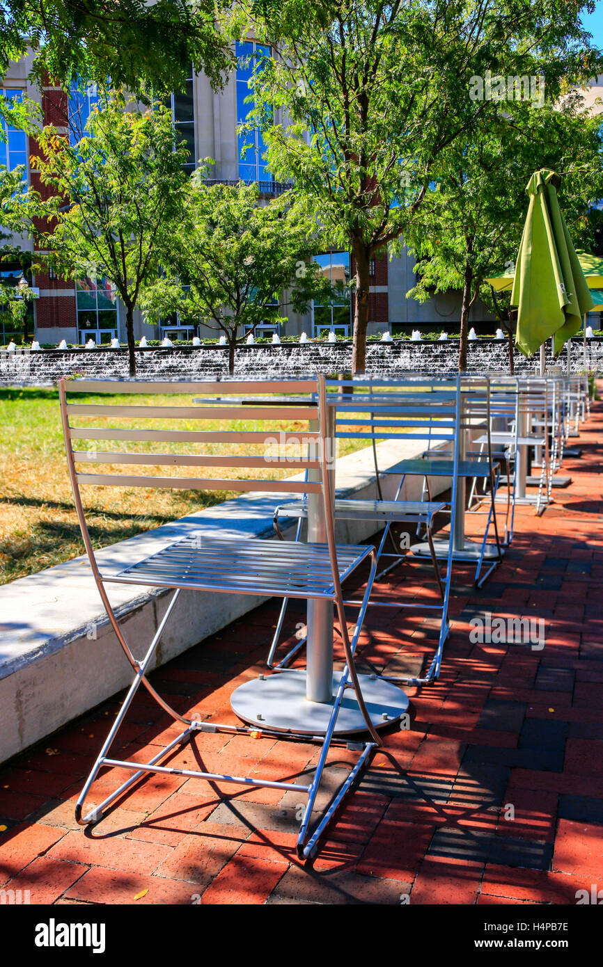 Tables And Chairs In Triangle Park In Downtown Lexington KY