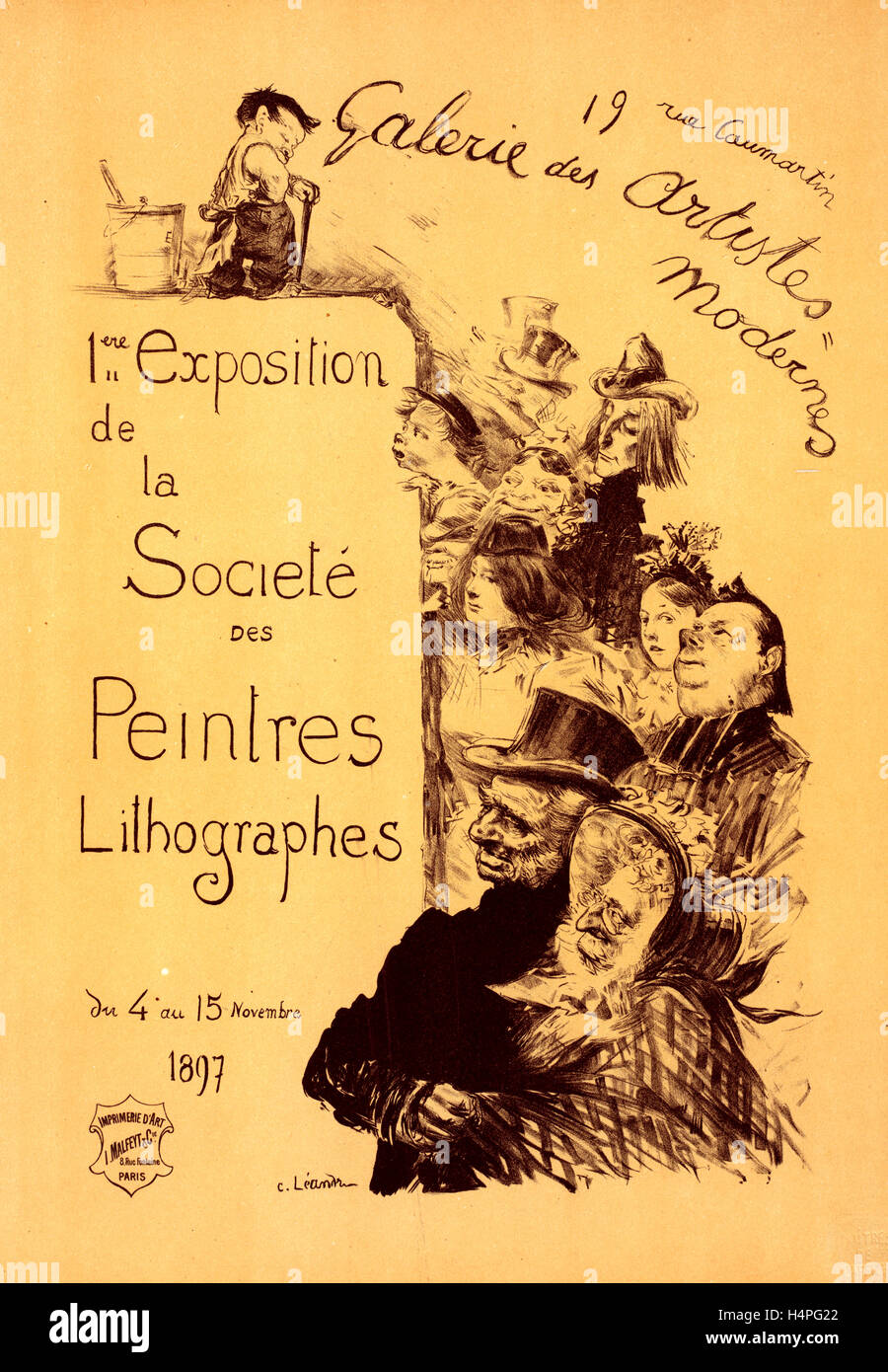 Poster for Galerie des Artistes modernes. The Society of Lithography Painters Exhibition, 1897, Charles Lucien Léandre - Stock Image