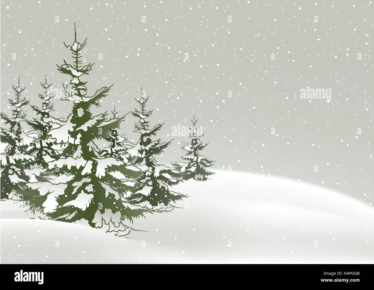 Snow Falling On Conifers - Stock Vector