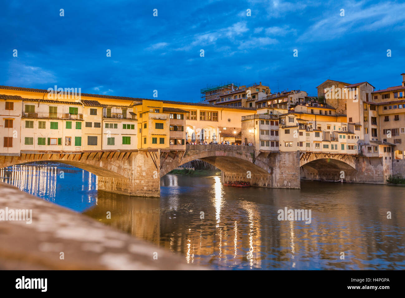 View at Bridge Ponte Vecchio in Florence, Italy by night - Stock Image