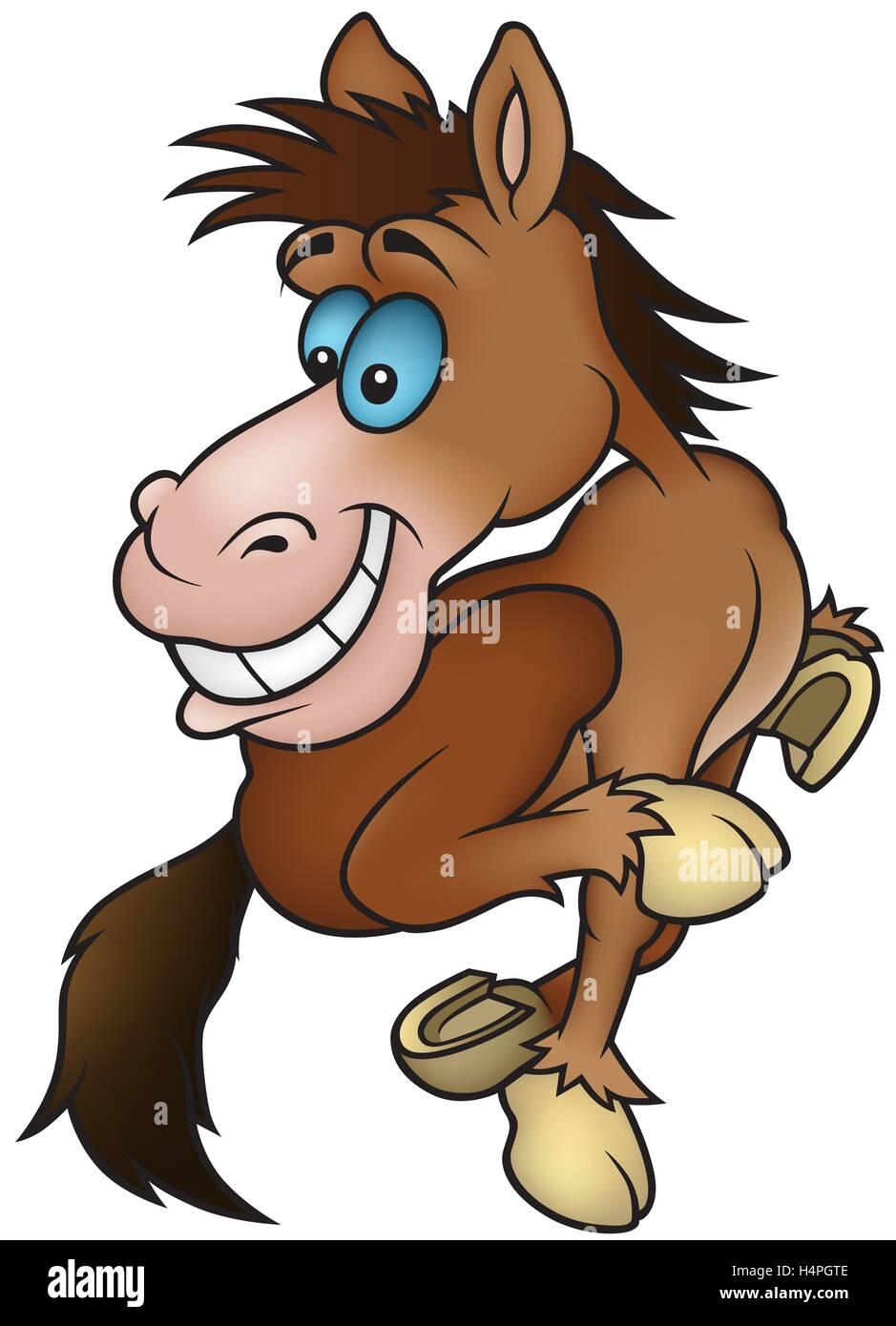 Brown Running Horse - Stock Image