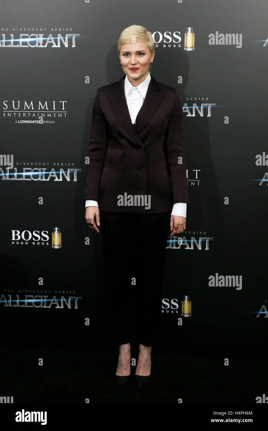 NEW YORK-MAR 14: Book author Veronica Roth attends 'The Divergent Series: Allegiant' New York premiere at - Stock Image