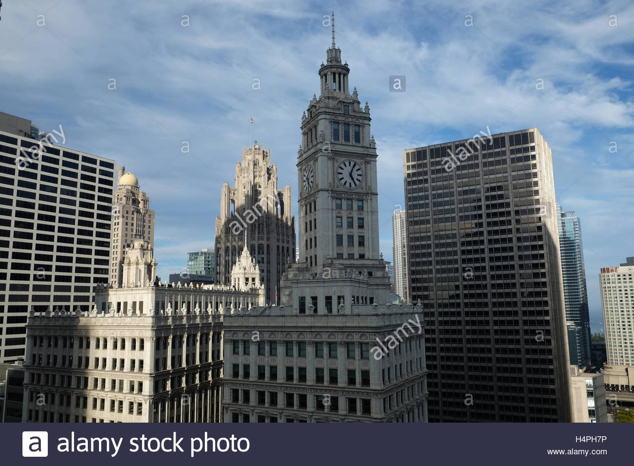 The clock tower of the Wrigley Building. - Stock Image