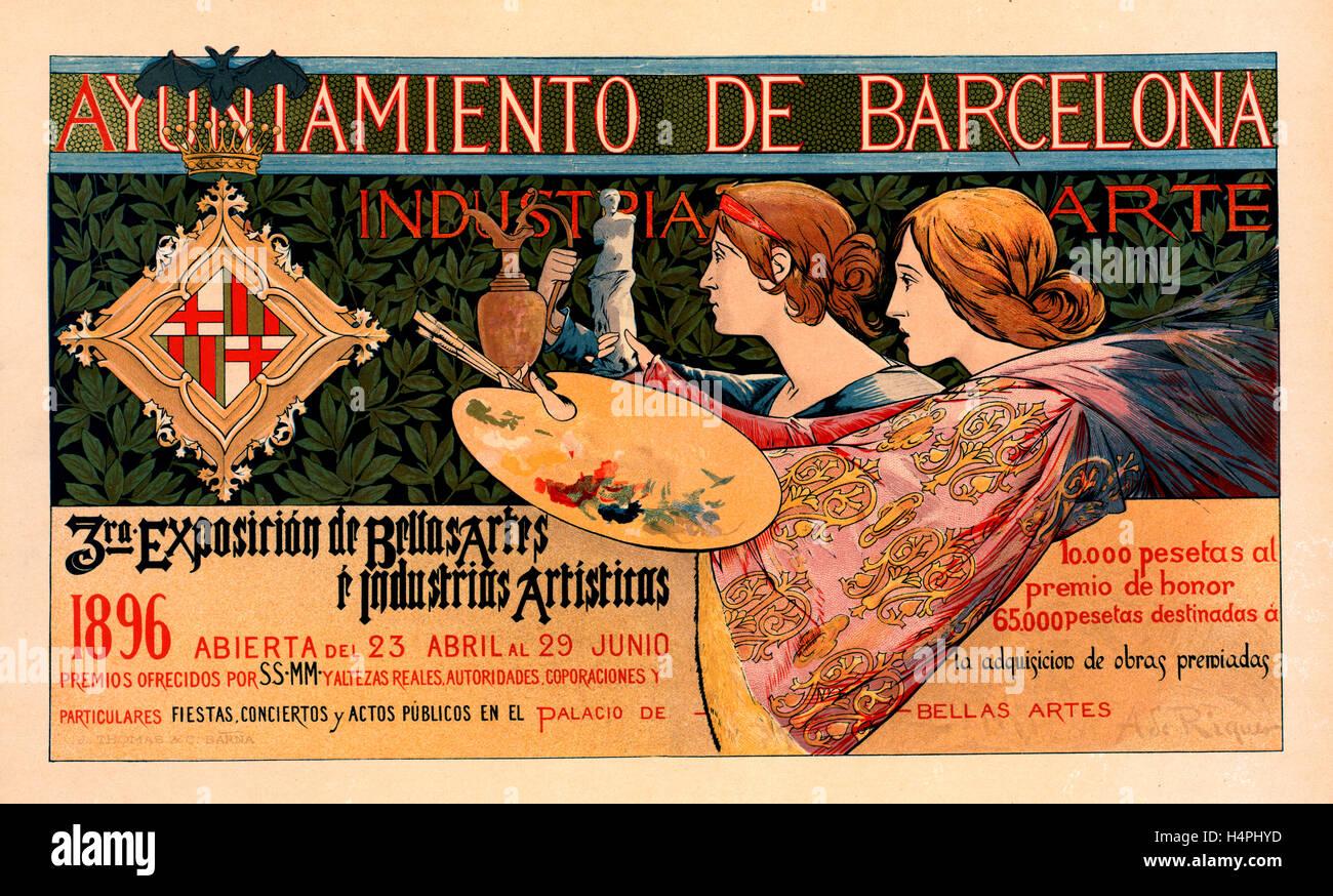 Spanish poster for la Triosième Exposition de Barcelone. Third Barcelona Exposition, Alejandro de Riquer - Stock Image