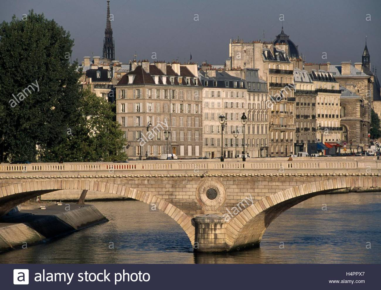 View of Pont L. Philippe crossing onto the Ile St. Louis. - Stock Image