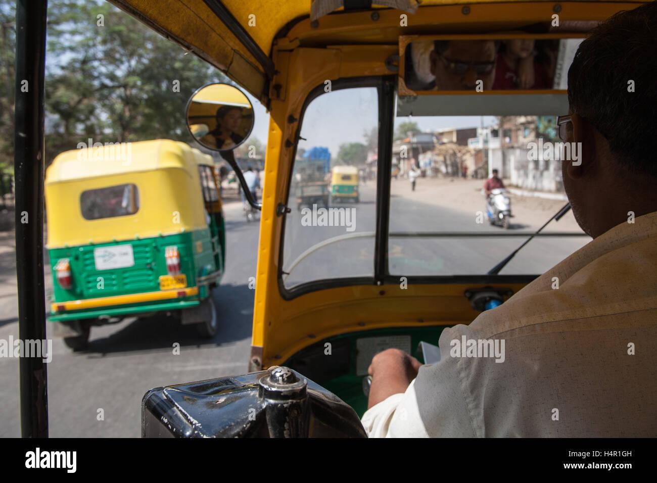 Auro rickshaw driver in centre of Ahmedabad,Gujurat,India,Asia, - Stock Image