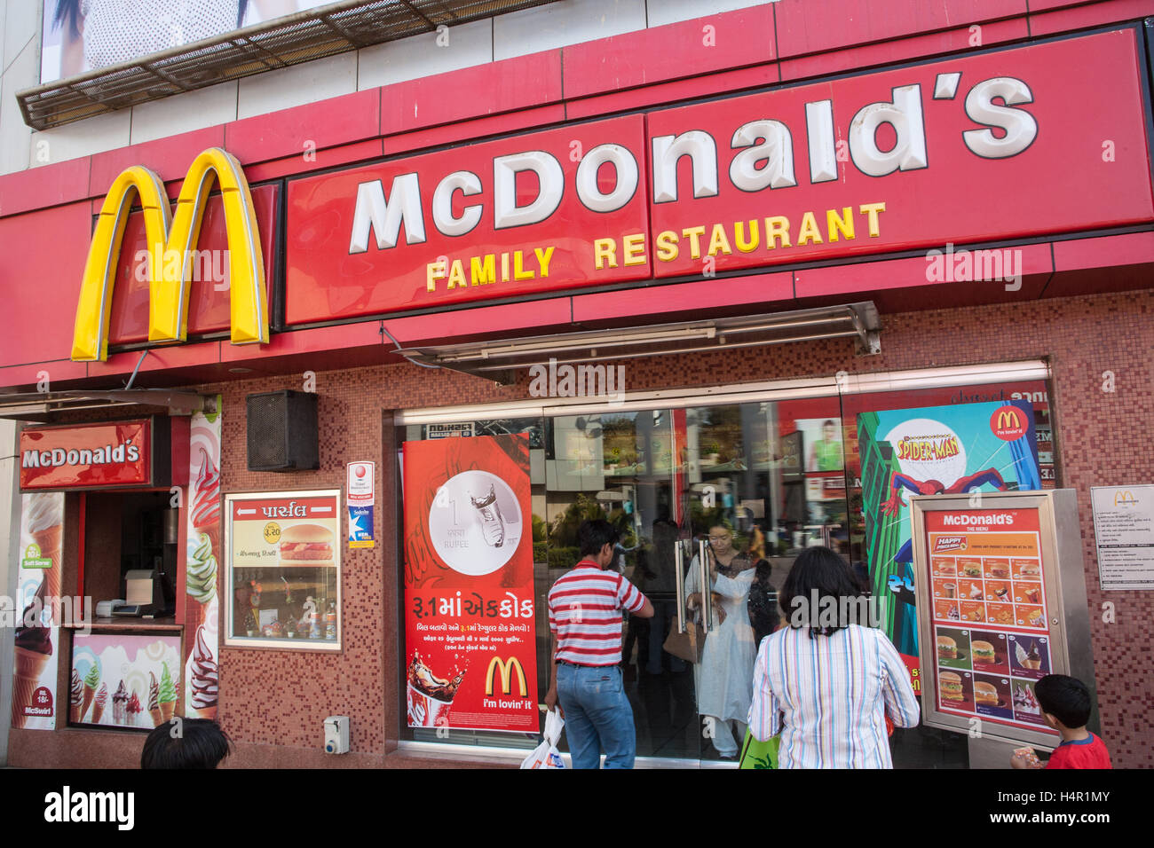 McDonald's,cafe,fast,food,fastfood,restaurant,outlet,At Ahmedabad City Mall with shops including Big Bazaar - Stock Image