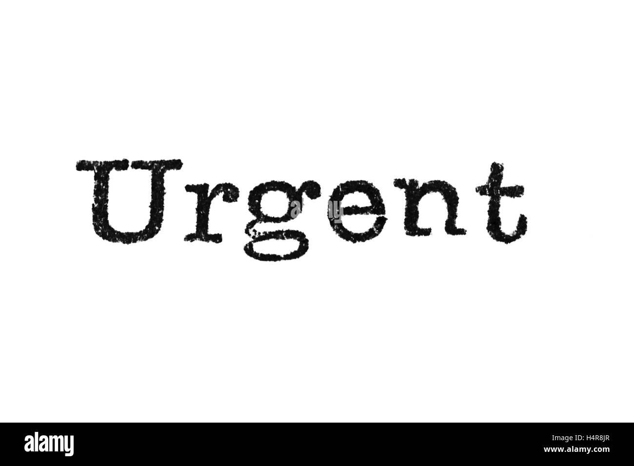 Urgent Typewriter Type Stock Photo