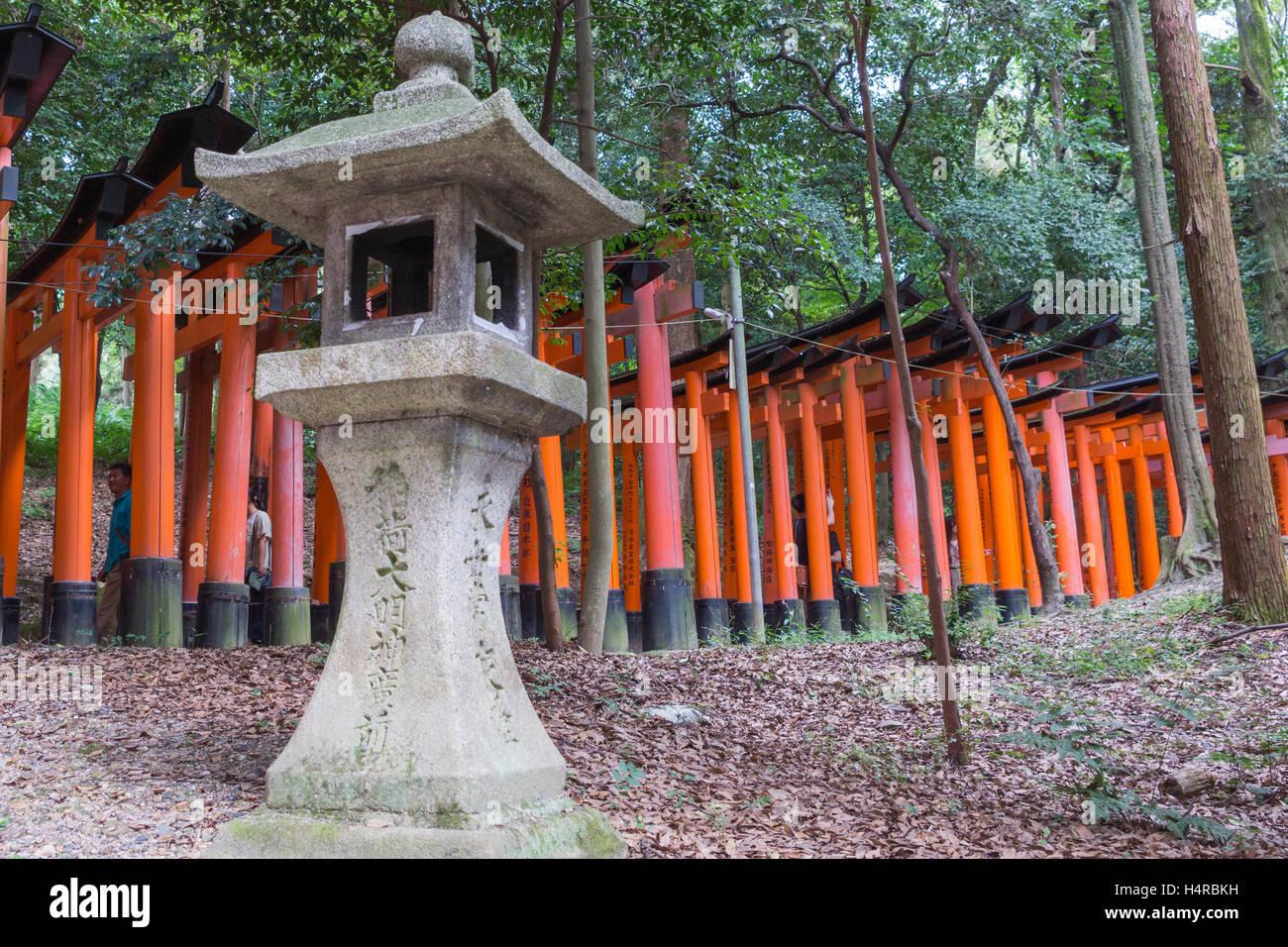 Thousands of Torii create path at Fushimi Inari Taisha Shinto Shrine. - Stock Image