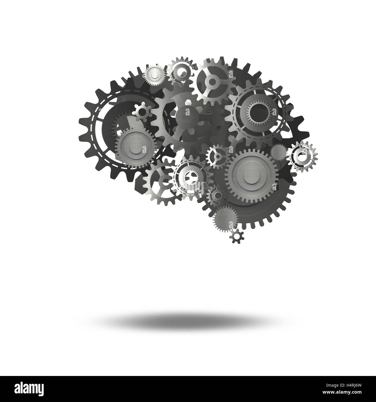 Gears mechanism brain 3D Rendering - Stock Image