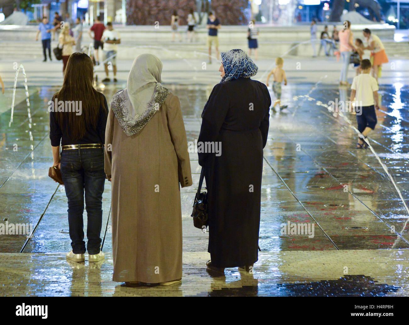 Muslim and Christian women. Skopje, Macedonia - Stock Image