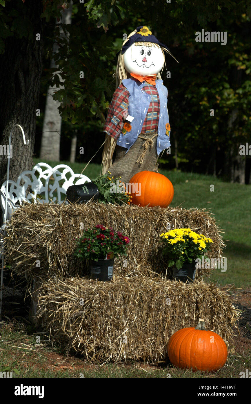 Outdoor Fall Decoration With Scarecrow Mums Hay And Pumpkins